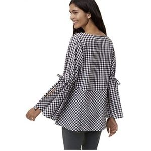 LOFT gingham checkered pemplum bell sleeves top